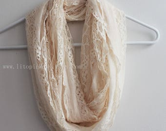 Ivory Lace Jersey Infinity Scarf, Wedding Lace Scarf, Ivory Infinity Scarf