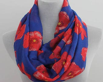 Poppy Flower Infinity Scarf, Poppyseed Scarf, Floral Scarf, fall scarf, loop scarf, winter scarf, Christmas gift, for her