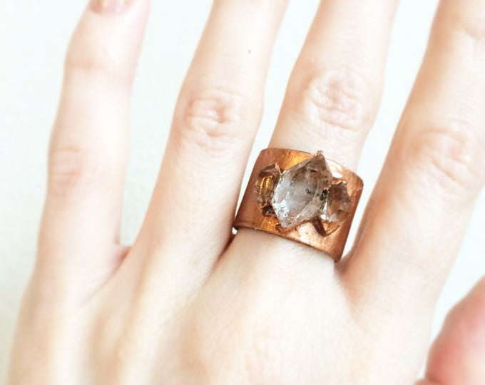 Herkimer Diamond Copper Ring, Size 6.5