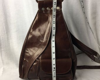Handcrafted Leather Backpack Purse Brown
