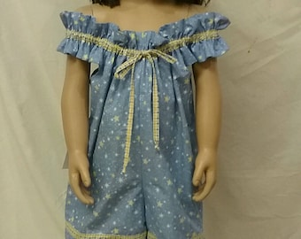 Romper Sunsuit Girls Blue Sky & Yellow Stars  Shorty Jumpsuit