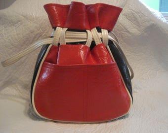 Vintage Red White Blue Vinyl Drawstring HOBO Handbag Purse Tex-Made Houston TX USA