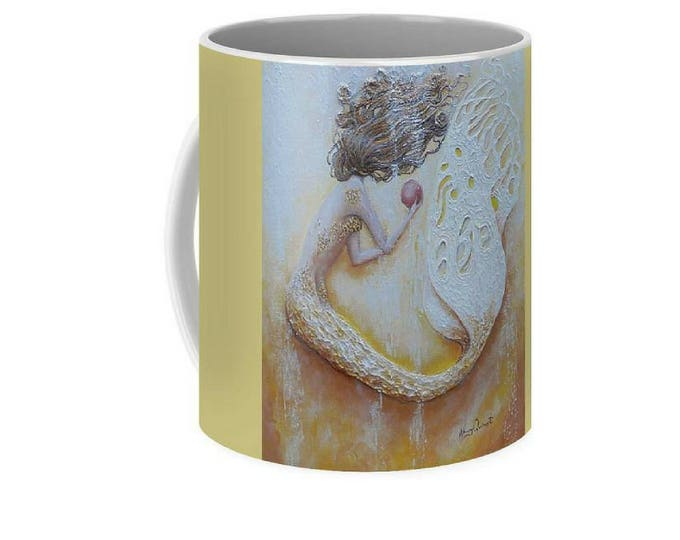Gold mermaid art mug, little mermaid coffee mug, unique mermaid cup, original painting by Nancy Quiaoit