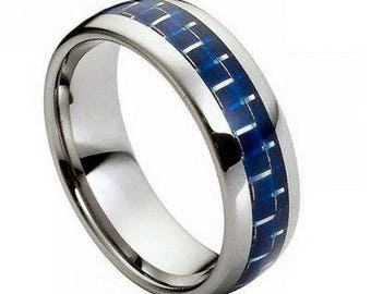 High Polished with Blue Carbon Fiber Inlay – 8mm