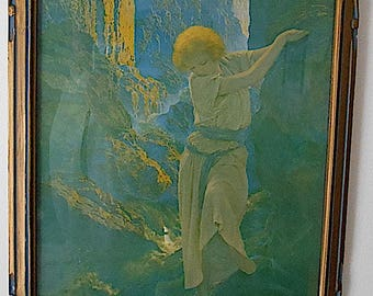 Original Vintage Maxfield Parrish Print/The Canyon with Original Blue and Gold Frame