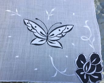 Sale Handkerchief Sheer Appliqued Black White Butterflies Florals  Embroidered.  A Perfect Bridal/Bridesmaid Hanky