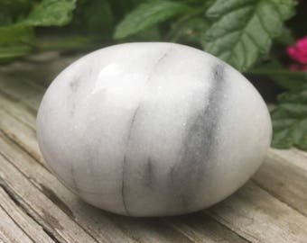 SALE Egg Marble Gray White Hand Carved Easter Decor Paperweight Spring Decor Vintage