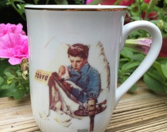 SALE Mug Norman Rockwell Cup Missing the Dance Seal of Authenticity Vintage Mint Jap