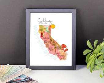 California Map Print | Framed Poster | Framed California Poster | Watercolor Map of California