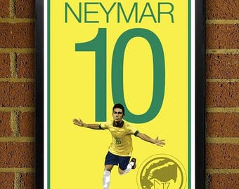 ON SALE 15% OFF Neymar 10 Poster - Brazil - World Cup 2014 Soccer Poster- 8x10, 13x19, poster, art, wall decor, home decor, la liga