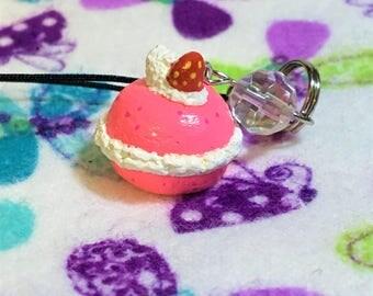 Strawberry Macaron Sculpey Charm