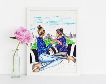 Rooftops and Rosé (Fashion Illustration Print)