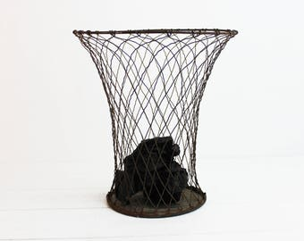 1950s Industrial Paper Office Trash Can - Waste basket, Office Decor, Mid Century Modern, Wire Basket, Metal Trash Can, French vintage, E569