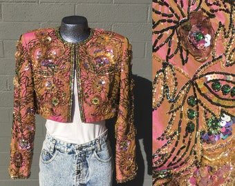 Small Pink Sequined Floral Iridescent Cropped Jacket Satin Lavender Green Eighties Beautiful