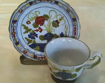 Handpainted Italian Cups & Saucers