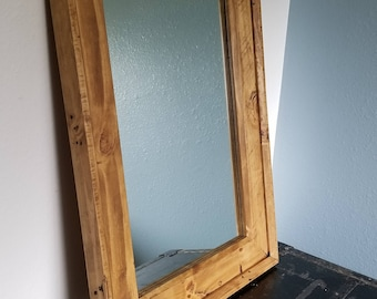 Reclaimed Knotty Pine Mirror Frame - 31 1/2 x 23 1/4 Outside Dimensions - Handcrafted out of Knotty Pine