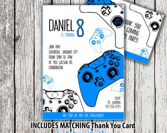 Xbox invitation etsy printable gamer party invitation video game birthday invitation thank you card video game stopboris Gallery