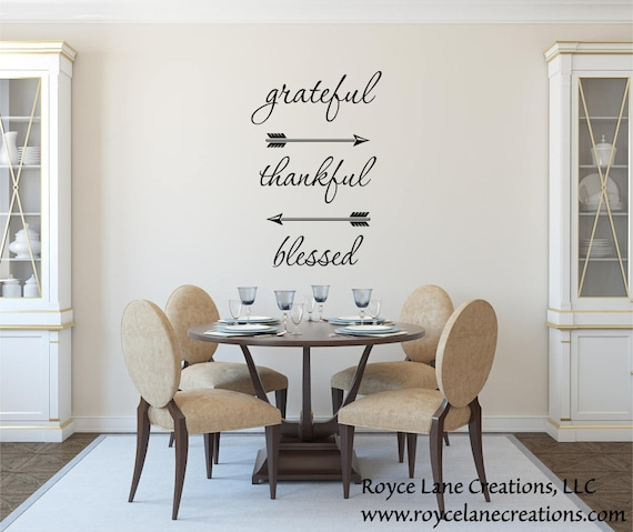 Grateful Thankful Blessed Wall Decal Dining Room Decor - Wall decals dining room