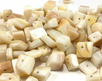 Shell Beads Off White Shell Nuggets Square Shell Beads Mother of Pearl Beads Nugget Beads Sea Shell Beads Jewelry Making Natural Shell Beads