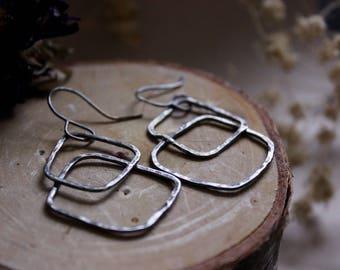 Oxidized Silver Organic Shapes Dangle Earrings - Small