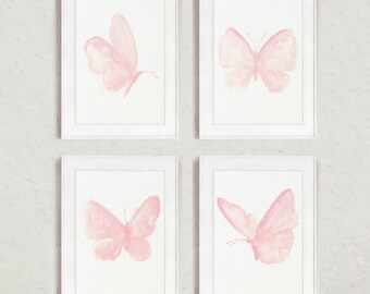 Butterfly Art Print set 4 Blush Pink Butterflies Girls Room Wall Decoration Pastel Watercolor Painting Minimalist Illustration Canvas Poster