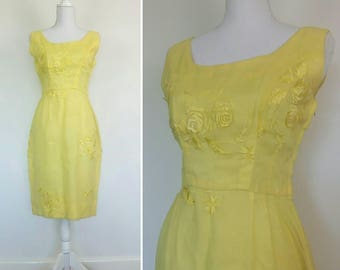 1950s Pale Yellow Roses embroidery dress chiffon party Wiggle bombshell dress size S