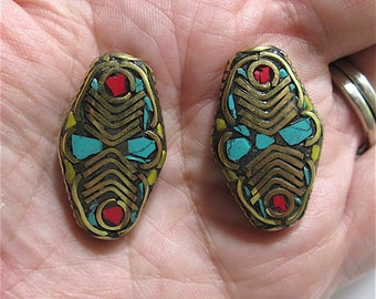 2 Napalese Brass Handmade Beads with Turquoise and Coral