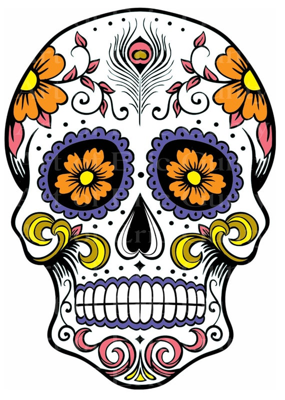 Sugar Skull Halloween Birthday - Edible Cake and Cupcake Topper For Birthday's and Parties! - D22651