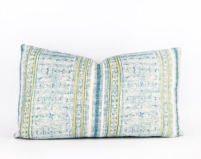 Hmong Batik Print Tribal Textile Lumbar Pillow Cover 12x20