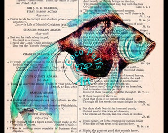 Neon Blue Fish Fractal Shine Art Vintage dictionary page art print  upcycled book page, Sea Life Kitsch Art Print