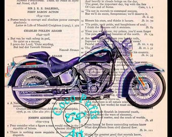 2002 Blue-White Softail Deluxe HD Motorcycle Art - Vintage Dictionary Book Page Art Upcycled Page Art Mixed Media Art Drawing