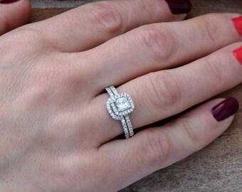 Cushion cut engagement ring set-White Gold-Promise ring-Art deco wedding set-Cluster Wedding band-Cushion cut engagement ring-Custom ring