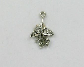 Sterling Silver 3-D Oak Leaf Charm