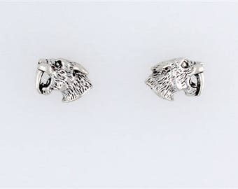 Sterling Silver Saber Tooth Tiger Post or Stud Earrings