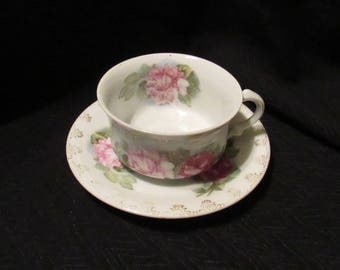 Vintage China Cup and Saucer Set White With Pink Roses Mignon Z.S. & Ct. Bavaria Victorian Shabby Cottage Gold Trim