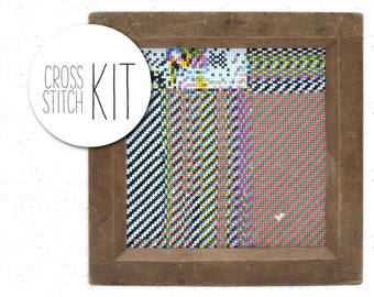 Geometric cross stitch kit GLITCH #2 modern embroidery kit with striking colors, abstract contemporary fiber art, unique colorful craft kit