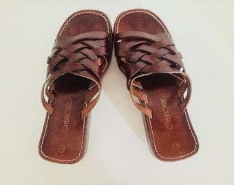 80s Leather Sandals Brown Leather Slides Round Toe Made in Italy by Cherokee Size 5.5 1/2 35 36