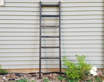 "Custom rustic wooden 6 foot tall, 6 rung ebony (or custom color) blanket ladder, distressed weathered towel ladder pine wood 6' x 20"" x 1"""