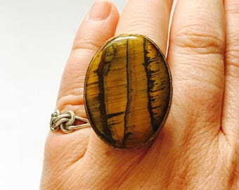 Vintage Large Statement Ring With Tigers Eye, Retro, 1970s