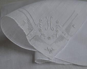 Vintage Irish Linen Hand Embroidered Handkerchief with H monogram