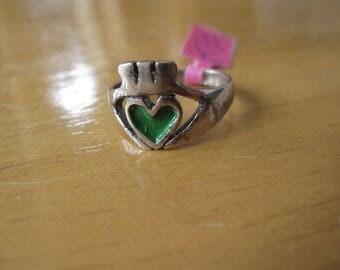 Sterling Silver Green Enamel Irish Claddagh Ring 6.75 (752)