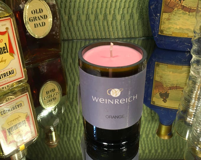 Weinreich Orange Wine bottle with a Grapefruit Soy candle