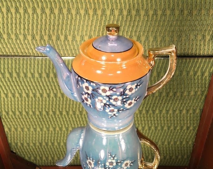 Hand-painted Japanese Art Deco Lusterware Cherry Blossom Tea Pot