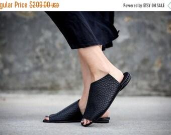 SALE New! Black Sandals, Leather Sandals, Handmade Sandals, Summer Shoes, Black Summer Flats, Slide Sandals, Mules, Charlotte