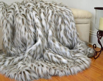 "Faux Fur Leopard Blanket Throw, Faux Fur Blanket,  Faux Leopard Fur Throw, Fur Bedding, Lap Blanket 60"" x 72"""