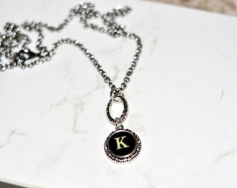 Typewriter Key Necklace, Personalized with a Letter K Initial, Initial Necklace, Gift for Her.