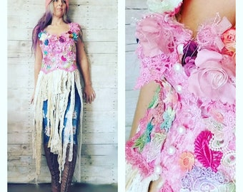Pink Sunshine Shabby romantic layered upcycled lagenlook lace prairie patchwork gypsy floral ruffle rustic Boho fairy tattered dress top