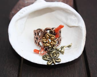 """PEP"" coral ring"