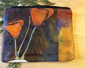 38 POPPIES -- large reclaimed canvas zipper pouch
