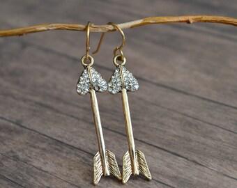 Arrow Earrings, Romantic Earrings, Vintage Style Earrings, Gift Idea, Gift For Her, Rhinestone Earrings, Elegant Earrings, Dangle Earrings